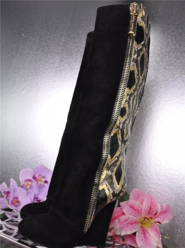 PHILIPP PLEIN Stiefel Wildleder Python Gr. 37 LuXuS high wedge boots*
