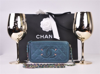 CHANEL Double Zip Woc iridescent Wallet on Chain Kette A33814 Y84063 FULLSET*