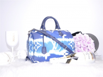 LOUIS VUITTON Speedy 30 Escale Blau - Neu - Fullset M45146*