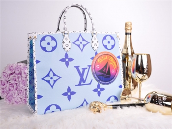 LOUIS VUITTON Monogram Giant M44696 SAINT TROPEZ Onthego Blue NEW FULLSET*