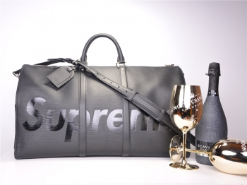 LOUIS VUITTON x SUPREME Keepall Bandouliere Epi 55 Black*