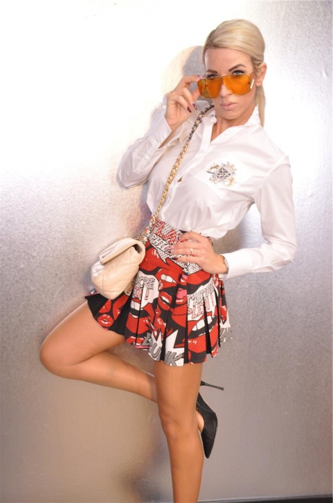PHILIPP PLEIN Minirock Skirt Gr. M High Waist Jadore Lips*