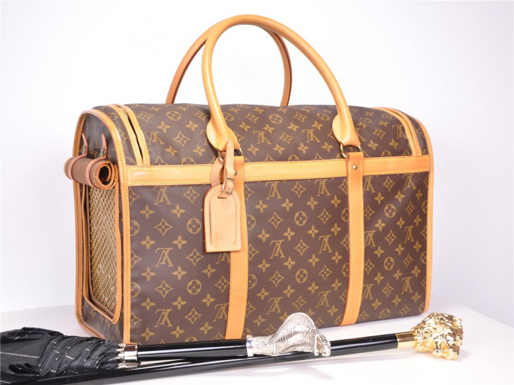 LOUIS VUITTON Sac Chien Dog Pet Carrier 50 Luggage Monogram Canvas Vintage*