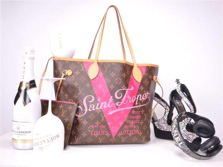 LOUIS VUITTON Neverfull MM Pink V Saint Tropez M42725 FULLSET*