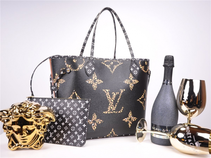LOUIS VUITTON Neverfull MM Giant Jungle Collection Schwarz M44676 FULLSET *