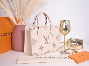 LOUIS VUITTON ONTHEGO PM M45654 Empreinte Leder Creme / Bois de Rose Neu*
